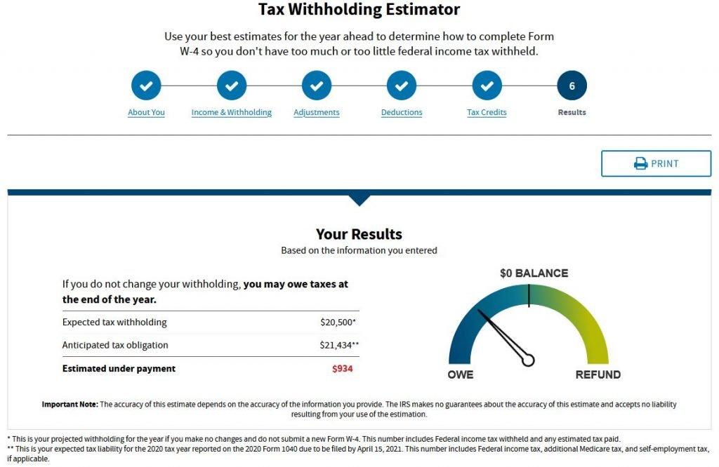 IRS Tax Withholding Estimator